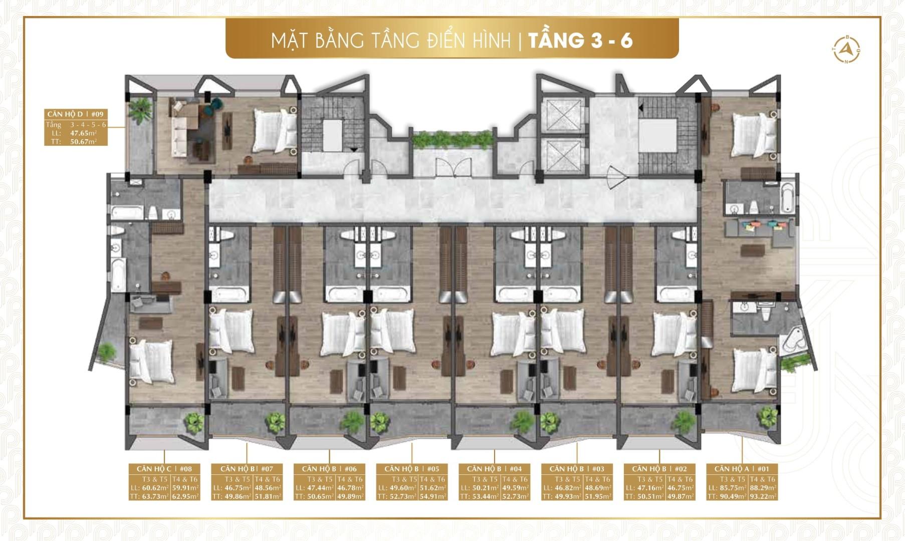 Dự Án Parami Hồ Tràm: Tầng 3 - Tầng 6