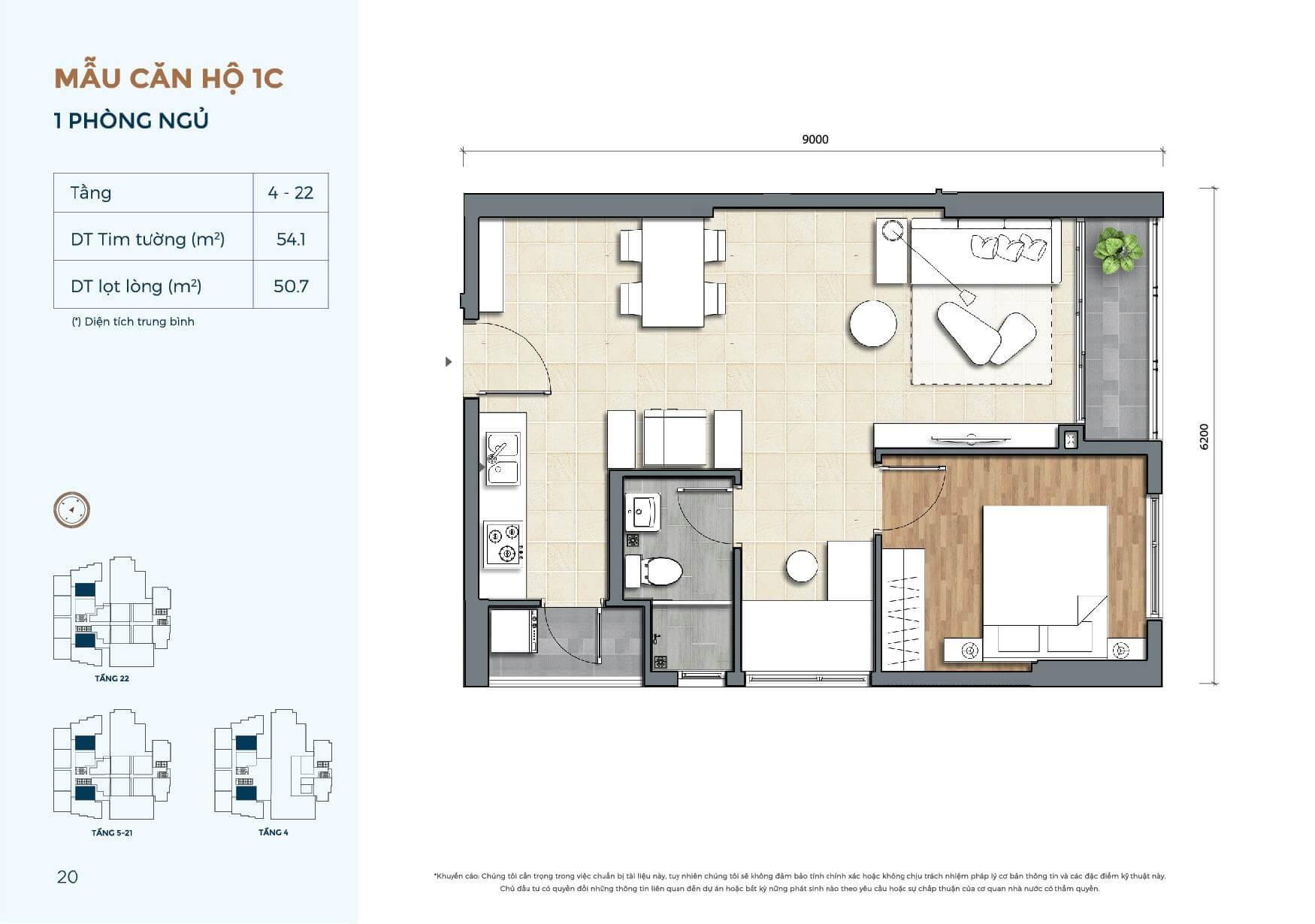 căn hộ chung cư 1 phòng ngủ Precia An Phú Quận 2