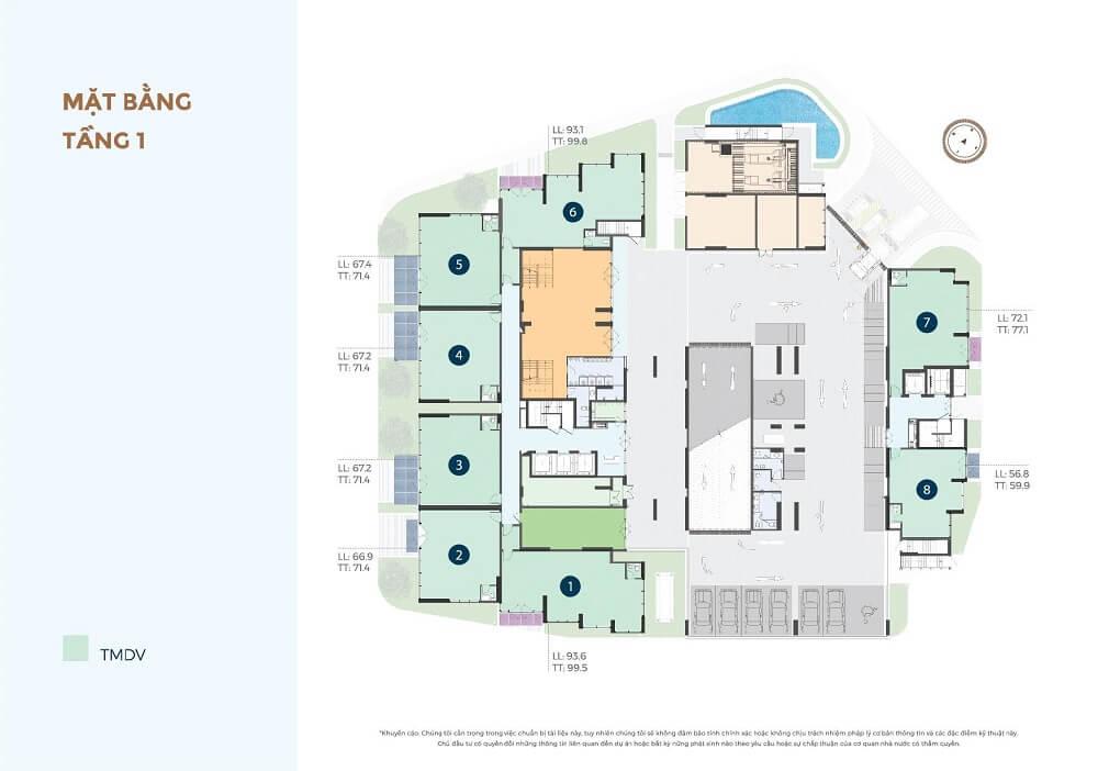 Tầng 1 Precia căn hộ Quận 2